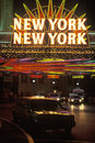 A neon sign that reads �new york new york� at the hotel and casino in las vegas nevada Royalty Free Stock Image