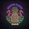 Neon sign summer party with fluorescent tropic leaves, flamingo and pineapple. Vintage electric signboard