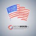 Neon Sign Wavy USA Flag on Light Gray