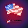 Neon Sign Wavy USA Flag