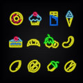 Neon signs. The symbols of desserts and nuts. Royalty Free Stock Photo