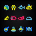 Neon signs. The symbols of different food. Royalty Free Stock Photo