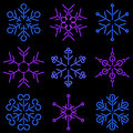 Neon Snowflakes Stock Photo