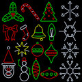Neon style xmas icons Royalty Free Stock Photography