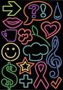 Neon Symbols/eps Royalty Free Stock Photo