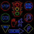 Neon Traffic Signs Royalty Free Stock Photos
