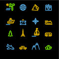 Neon travel icons Stock Photos