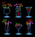 Neon Tropical Drinks Royalty Free Stock Photo