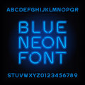 Neon tube alphabet font. Blue color type letters and numbers.