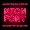 Neon tube alphabet font. Red color type letters and numbers.