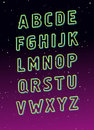 Neon tube glowing alphabet