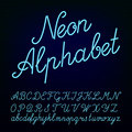 Neon tube hand drawn alphabet font