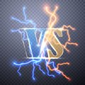 Neon Versus Logo. VS Vector Letters Illustration. Competition Icon. Fight Symbol. Digital effect of glowing, electrical discharge