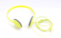 Neon yellow headphones Royalty Free Stock Images