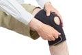 Neoprene knee brace caucasian adult putting on isolated on white background Royalty Free Stock Photo