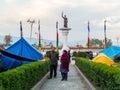 Nepal earthquake in kathmandu april makeshift campsite around pasang lhamu sherpa statue chuchepati area north east of Stock Photo