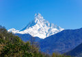 Nepal himalaya machhapuchhre peak in the most sacred mountian Stock Photos