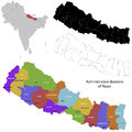 Nepal map administrative division of the democratic republic of Stock Photo