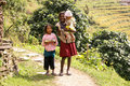 Nepal mountain children on annapurna circuit trail Stock Image
