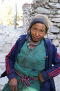 Nepal mountain woman local in himalayan village part of annapurna circuit trek Royalty Free Stock Photography