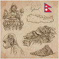 Nepal - Pictures of life. Travel. Vector collection. Hand drawin