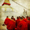 Nepal stupa and monks artistic vintage picture Royalty Free Stock Image