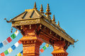 Nepalese entrance gate of a temple Stock Photos