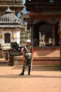 Nepali guard of honor in bhaktapur october nepalese standing durbar square near the royal palace on october kathmandu nepal the Stock Image