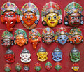 Nepali masks on display Royalty Free Stock Image