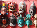 Nepali masks on display in the markets of bhaktapur nepal Royalty Free Stock Photos