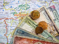 Nepali Rupees on Map Royalty Free Stock Photo