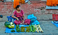 Nepali woman selling vegetables Royalty Free Stock Photos
