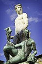 Neptune in florence italy the famous statue of Stock Photography