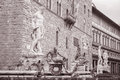 Neptune fountain fontana di nettuno by ammannati florece florence italy in black and white sepia tone Stock Images