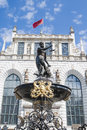 Neptune fountain in front before the artus court gdansk poland Stock Photography