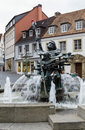 Neptune fountain paderborn settles down near cathedral germany Royalty Free Stock Photo