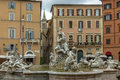Neptune Fountain in Piazza Navona - Rome, Italy Royalty Free Stock Photo