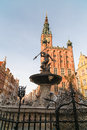 The neptune fountain and town hall in gdansk of old poland Royalty Free Stock Photos