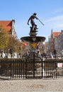 The neptune gdansk bronze statue of roman god of sea danzig poland Royalty Free Stock Images