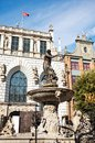 Neptune's Fountain in Gdansk, Poland Stock Images