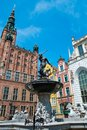 Neptune s fountain in gdansk poland Stock Image