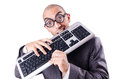 Nerd businessman computer keyboard white Stock Photos