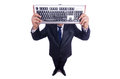 Nerd businessman with computer keyboard on white Stock Photography