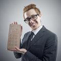 Nerd businessman portrait of mad nerdy with a unusual cell phone Royalty Free Stock Image