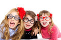 Nerd children girl group with funny glasses Royalty Free Stock Photo