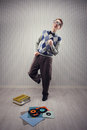 Nerd dancer student enjoys dancing alone Royalty Free Stock Photography