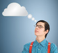 Nerd geek businessman thinking cloud or computing student teacher with thought Stock Photos