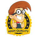 Nerd geek with guarantee icon clipart picture of a cartoon character Royalty Free Stock Images