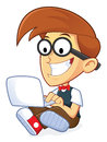 Nerd geek with his laptop clipart picture of a cartoon character Stock Photography