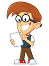 Nerd geek holding tablet pc clipart picture of a cartoon character Stock Photos